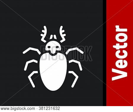 White Beetle Deer Icon Isolated On Black Background. Horned Beetle. Big Insect. Vector