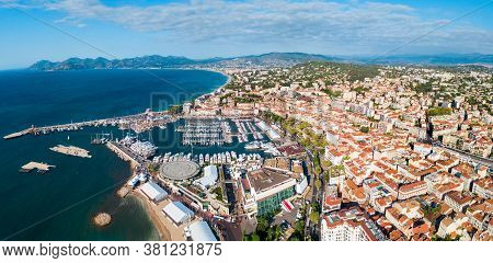 Cannes Aerial Panoramic View. Cannes Is A City Located On The French Riviera Or Cote Dazur In France