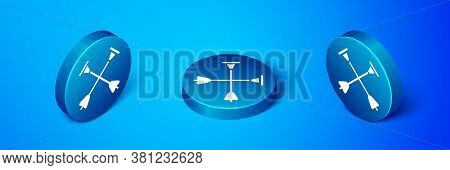 Isometric Arrow With Sucker Tip Icon Isolated On Blue Background. Blue Circle Button. Vector