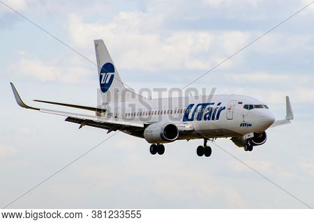 July 2, 2019, Moscow, Russia. Airplane Boeing 737-500 Utair Aviation Airlines At Vnukovo Airport In