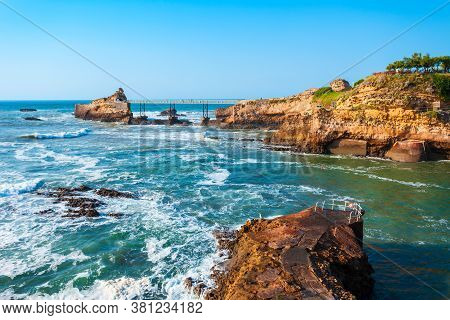 The Rock Of The Virgin Or Le Rocher De La Vierge Is A Tourist Natural Landmark In Biarritz City In F