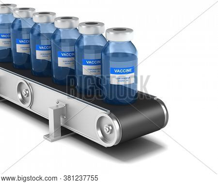 conveyor vaccine from covid-19 on white background. Isolated 3D illustration