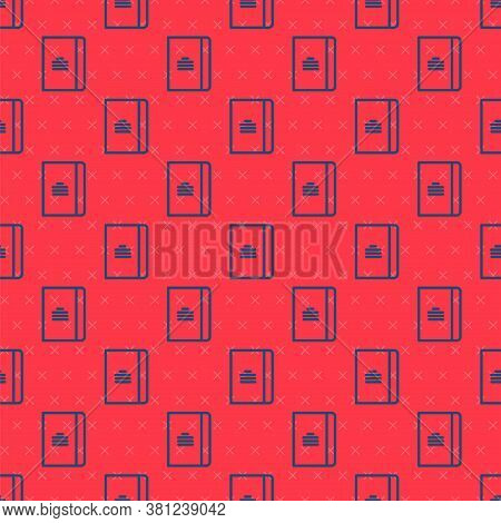Blue Line Notebook Icon Isolated Seamless Pattern On Red Background. Spiral Notepad Icon. School Not