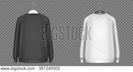 Black And White Sweatshirts, Longsleeves Shirts Isolated On Transparent Background. Vector Realistic