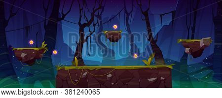 Game Level Background With Platforms And Items. Vector Cartoon Landscape Of Night Jungle With Green