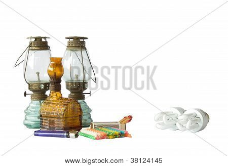Old Lamp And Electrical Lamp