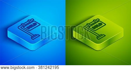 Isometric Line Hanging Sign With Text Sold Icon Isolated On Blue And Green Background. Sold Sticker.
