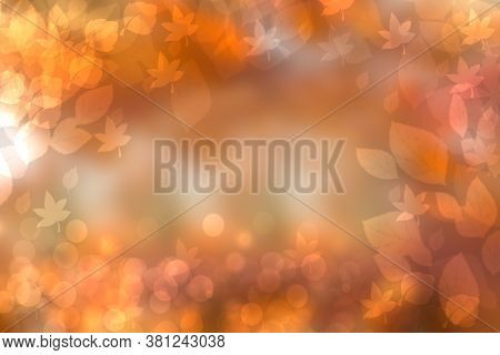 Abstract Autumn Gradient Gold Orange Bright Green Of Fall Colors Background Texture With Leaves Boke