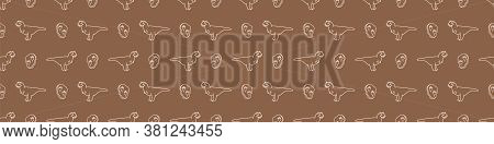Seamless Background Carnotaurus Dinosaur With Track Gender Neutral Baby Border Pattern. Simple Whims