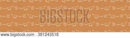 Seamless Background Apatosaurus And Foot Print Dinosaur Gender Neutral Baby Border Pattern. Simple W