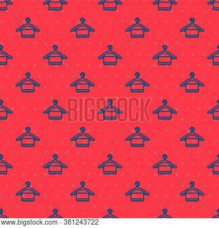 Blue Line Hanger Wardrobe Icon Isolated Seamless Pattern On Red Background. Clean Towel Sign. Cloakr