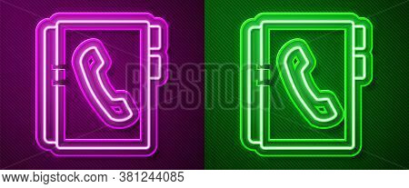Glowing Neon Line Address Book Icon Isolated On Purple And Green Background. Notebook, Address, Cont