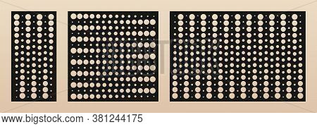 Laser Cut Panel Set. Vector Template With Modern Geometric Pattern, Halftone Dots Texture, Gradient
