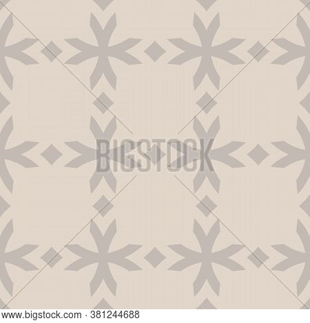 Vector Geometric Seamless Pattern With Flower Shapes, Crosses, Diamonds. Subtle Floral Ornament In G
