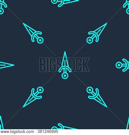 Green Line Dagger Icon Isolated Seamless Pattern On Blue Background. Knife Icon. Sword With Sharp Bl