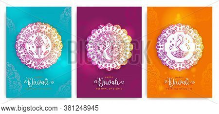 Happy Diwali,deepavali Festival Of Lights. Indian Holiday Illustration,badge,rangoli Graphic Design.