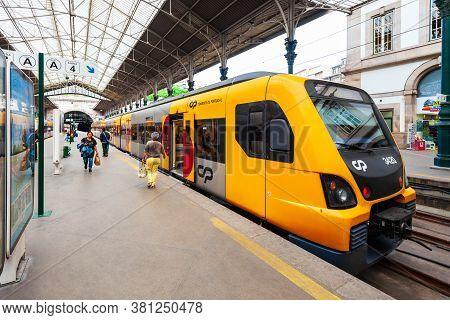 Porto, Portugal - July 02, 2014: Train At Sao Bento Railway Station In Porto City, Portugal