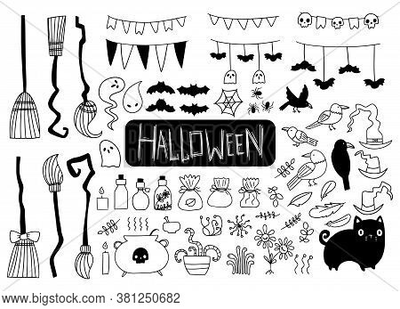 Big Halloween Set Of Spooky Elements On White Background. Drawn By Hand Doodle Halloween Elements. W