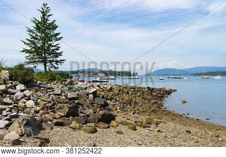 Beautiful Coastline By Southwest Harbor In Maine