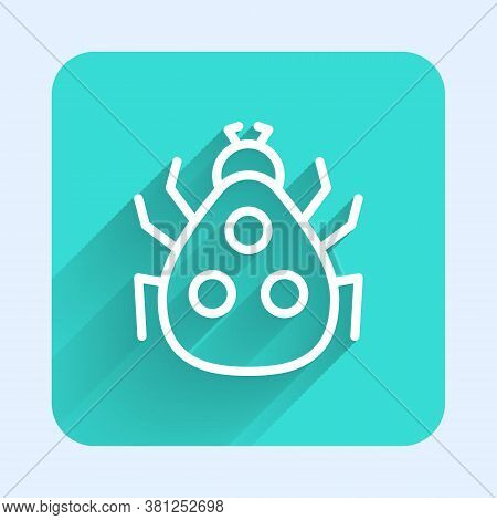 White Line Ladybug Icon Isolated With Long Shadow. Green Square Button. Vector