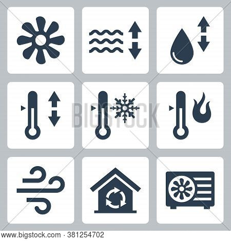 Air Conditioning And Air Conditioner Related Vector Icon Set