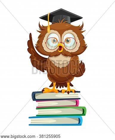 Cute Wise Owl Standing On Book. Funny Owl Cartoon Character, Back To School Concept. Vector Illustra
