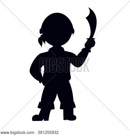 Vector Illustration. Pirate Silhouette With Saber Sword. Shadow Of Sailor Isolated On White Backgrou