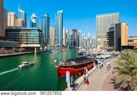 Dubai, Uae - February 26, 2019: Dubai Marina Is An Artificial Canal City And A District In Dubai In