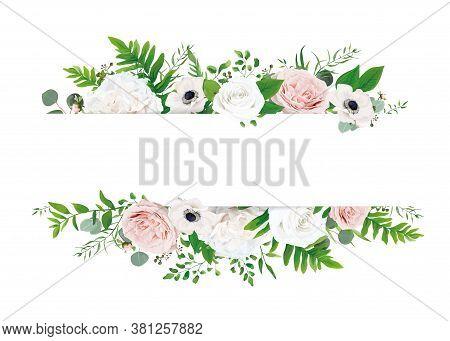 White Ivory & Blush Pastel Pink Stylish Wedding Invite, Invitation, Save The Date Card Design Templa