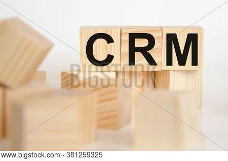 Crm- Word From Wooden Blocks With Letters, Personal Opinions Prejudice Bias Concept, Random Letters