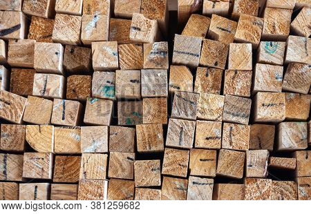 square timber sorted with colors to reflect quality of the wood