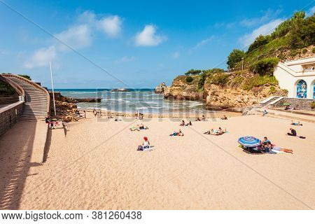 Biarritz, France - September 18, 2018: Plage Du Port Vieux Is A Public Beach In Biarritz City On The