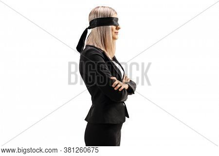 Profile shot of a businesswoman wearing a blindfold isolated on white background