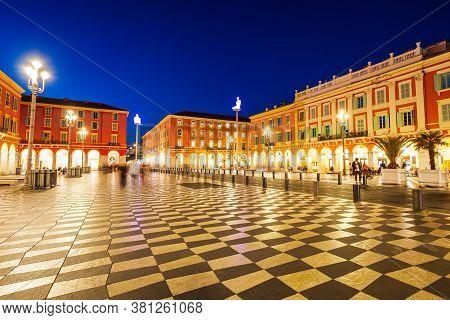 Nice, France - September 26, 2018: Place Massena Square In Nice City, Cote Dazur Region In France