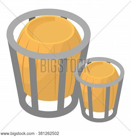Wooden Trashcan Icon. Isometric Illustration Of Wooden Trashcan Vector Icon For Web