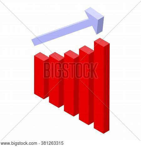 Subsidy Graph Chart Icon. Isometric Of Subsidy Graph Chart Vector Icon For Web Design Isolated On Wh