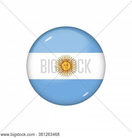 Icon Flag Of Argentina . Round Glossy Flag. Vector Illustration. Eps 10