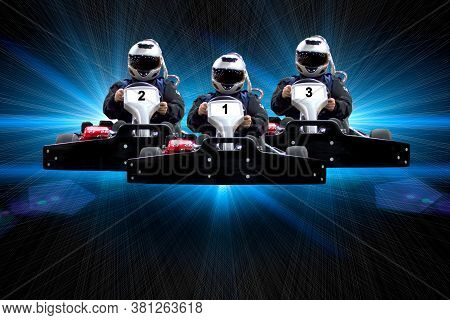 Three Riders Go Kart Speed Rive Indoor Racing On A Blue Background With Rays. Go Kart Indoor, Cart R