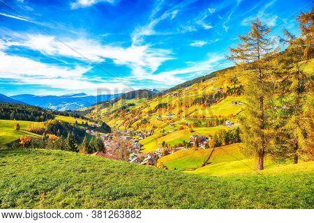 Awesome Autumn Scene Of Magnificent  Santa Maddalena Village In Dolomites.  Location: Santa Maddalen