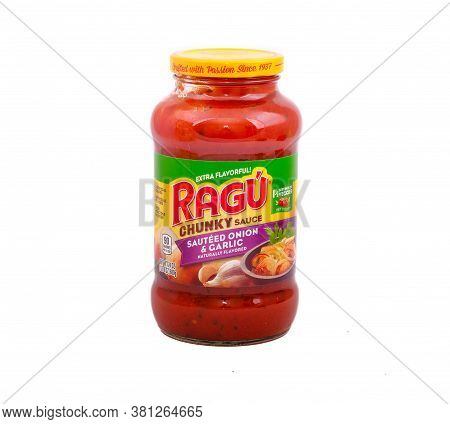 A Jar Of Ragu Chunky Pizza Or Pasta Sauce Isolated On White For Illustrative Editorial