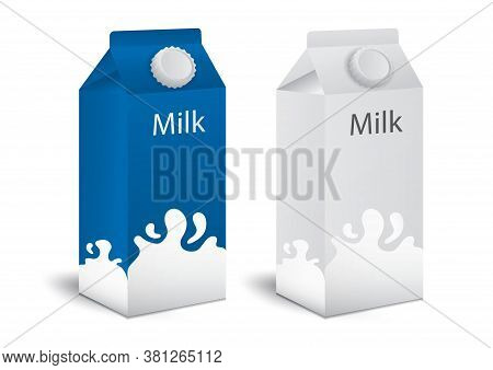 Milk Boxes, Juice Boxes Set Vector Realistic. Mock-up Packages. White Paper Drink Packaging 3d. Prod