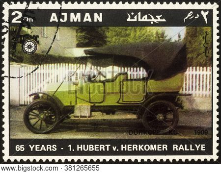Moscow, Russia - August 17, 2020: Stamp Printed In Ajman Shows Ancient Car Durkopp-kd (1909), Dedica