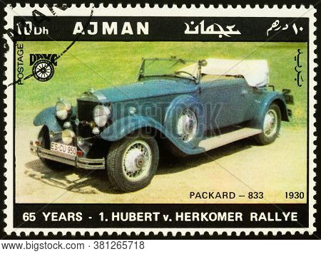 Moscow, Russia - August 17, 2020: Stamp Printed In Ajman Shows Old Car Packard-833 (1930), Dedicated