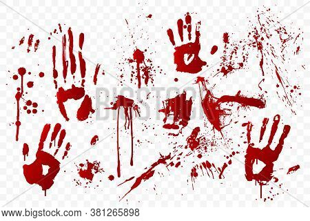 Vector Blood Stain And Bloody Handprints Isolated On Transparent Background. Red Paint Splashes. Cri
