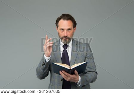 Get Inspired With New Idea. University Lecturer. Mature Man Reading Business Literature. Bearded Man