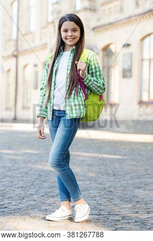 Get Knowledge And Experience. Happy Kid Carry Travel Bag Outdoors. Educational Travel Tour. Educatio