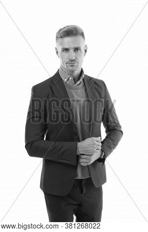 Man Of Style. Handsome Man Isolated On White. Serious Man In Formal Style. Fashion Look Of Mature Ma