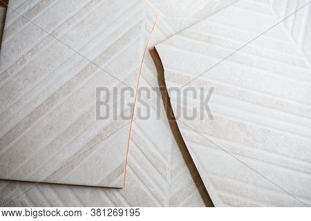 Pile Of Ceramic Tiles In The Bathroom, Indoor Walls. Conceptual Repair In Apartments, Tile Laying, R