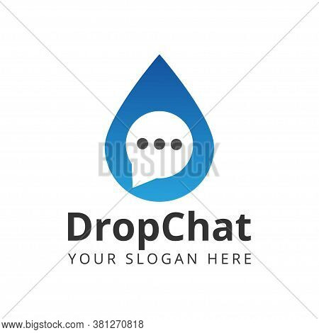 Drop Chat Logo Design Template Vector Illustration