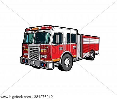 Fire Engine Truck Or Firetruck Car Vector Icon, Firefighter Vehicle. Firefighting Lorry, Fireman Eme